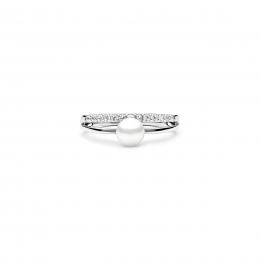 Beverly - Сребърен пръстен с бяла Перла А 5.5 - 6 мм и Цирконий SK21103RW-Пръстени