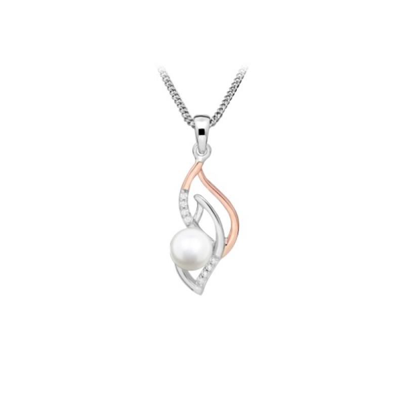 Harmony Pearl - Сребърна висулка с Перли, Циркони и розова позлата А 6 - 7 мм 14215-Висулки