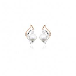 Harmony Pearl - Сребърни обеци с Перли, Циркони и розова позлата А 5 - 6 мм 14216-Обеци