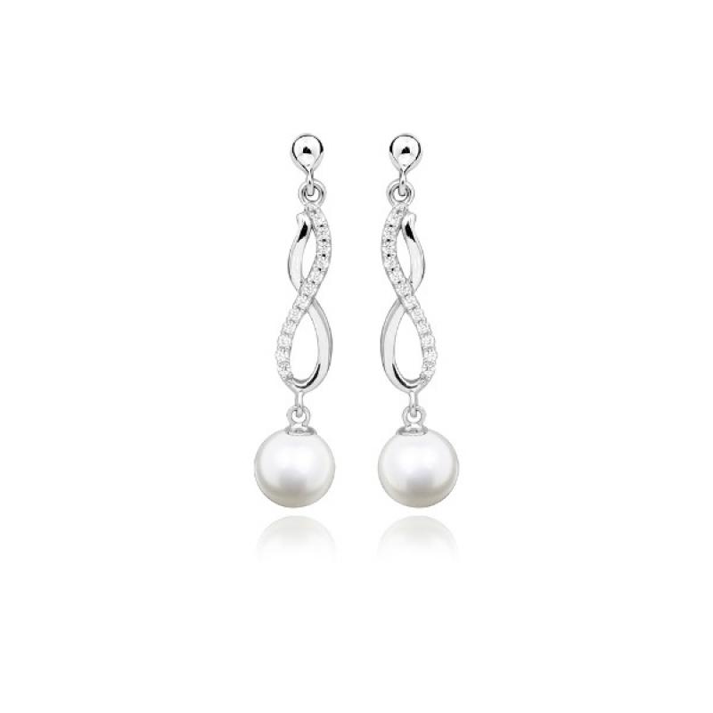Adelia - Сребърни обеци с Перли А 6 - 7 мм и Цирконий 14221-Обеци