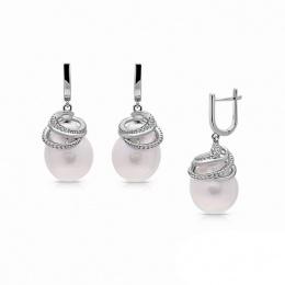 Sophie - Сребърни обеци с Перли и Циркони ААА 12 - 13.5 мм 15380-Обеци