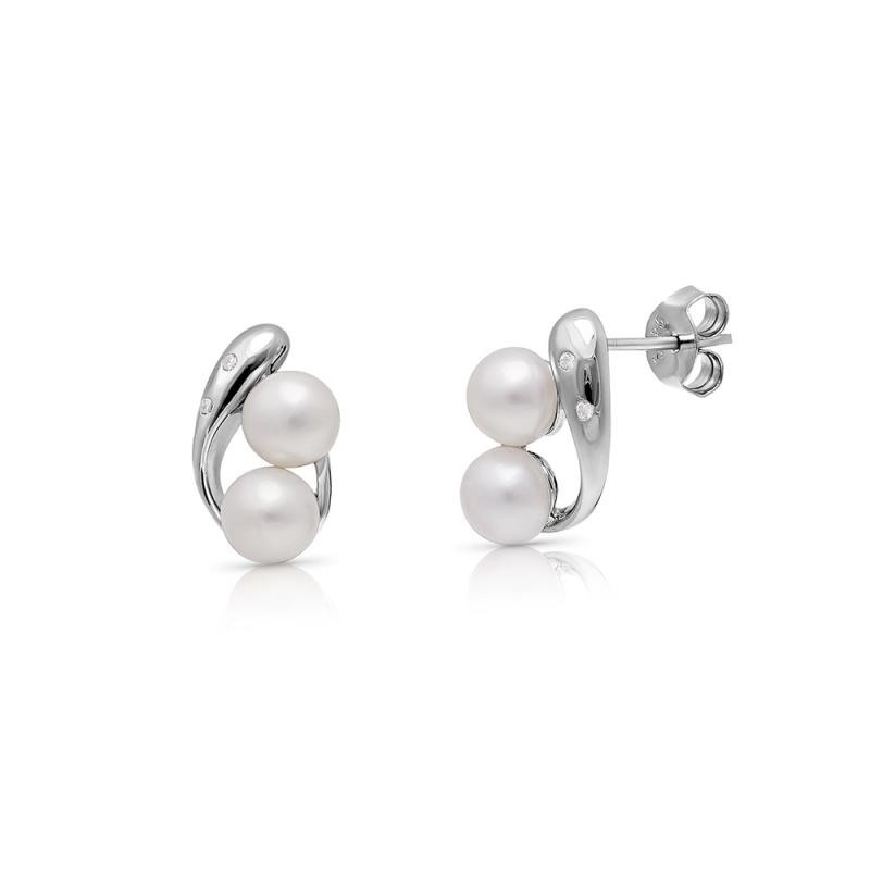 Marcelina - Сребърни обеци с бели Перли А 5 - 5.5 мм и Цирконий 16088W-Обеци