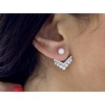 Stephanie  - Сребърни обеци с Перли и Циркони А 3.5-4/5.5-6 мм 16093-Обеци