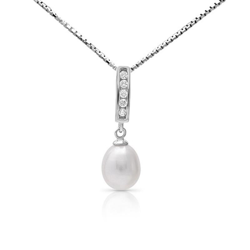 Graciela Pearls - Сребърна висулка с Перла и Циркони АА 7.5 - 8.5 мм 16106-Висулки