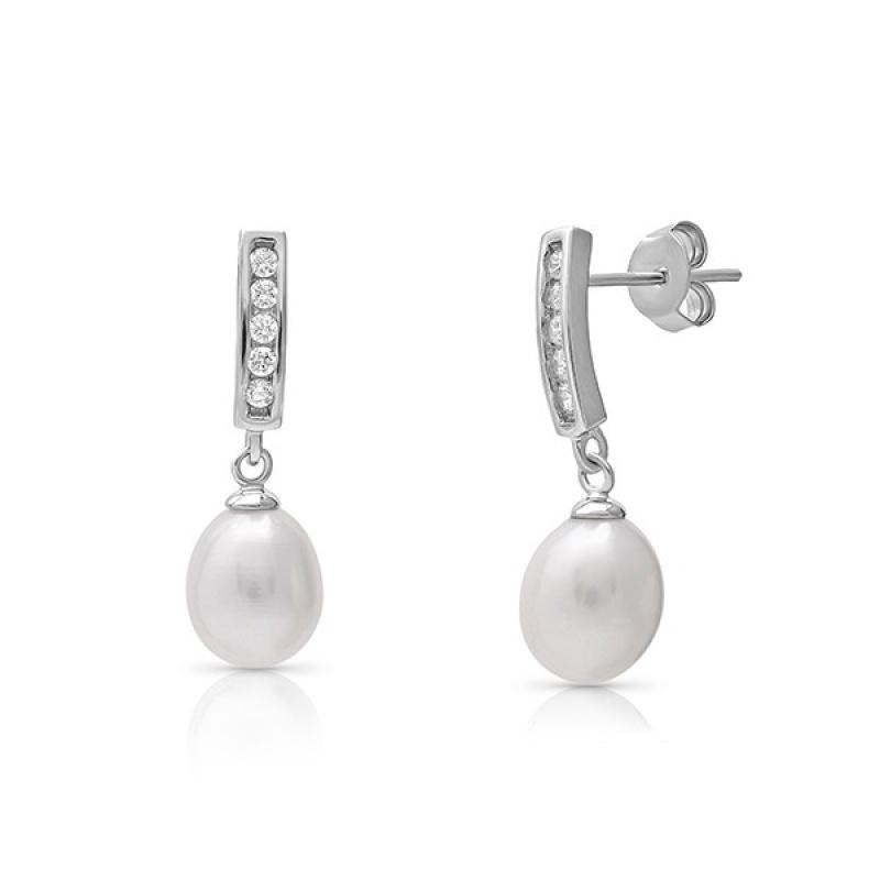 Graciela Pearls - Сребърни обеци с Перли и Циркони АА 7.5 - 8.5 мм 16107-Обеци