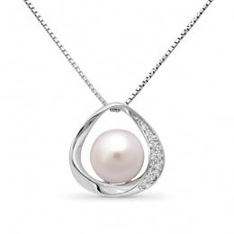 Severina Pearls - Сребърна висулка с Перли и Циркони АА 9 - 10 мм 16111