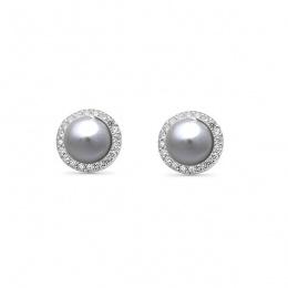 Indira Pearl - Сребърни обеци с Перли и Циркони А 5.5 - 6 мм 16126-Обеци