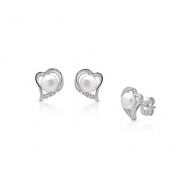 Calyn - Сребърни обеци Сърце с Перли и Циркони А 4 - 5 мм 16410