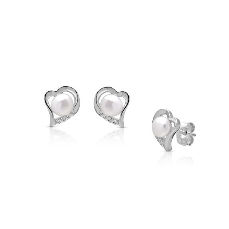 Calyn - Сребърни обеци Сърце с Перли и Циркони А 4 - 5 мм 16410-Обеци