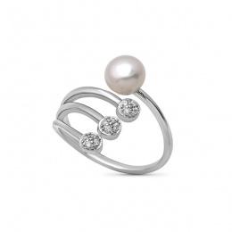 Galia - Сребърен пръстен с Перли и Циркони А 6 - 6.5 мм 17002w
