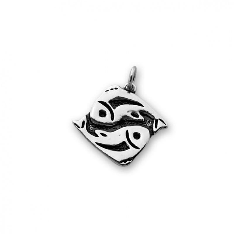 Ribi - Сребърна висулка Риби без Камък 181573-Сребърни бижута