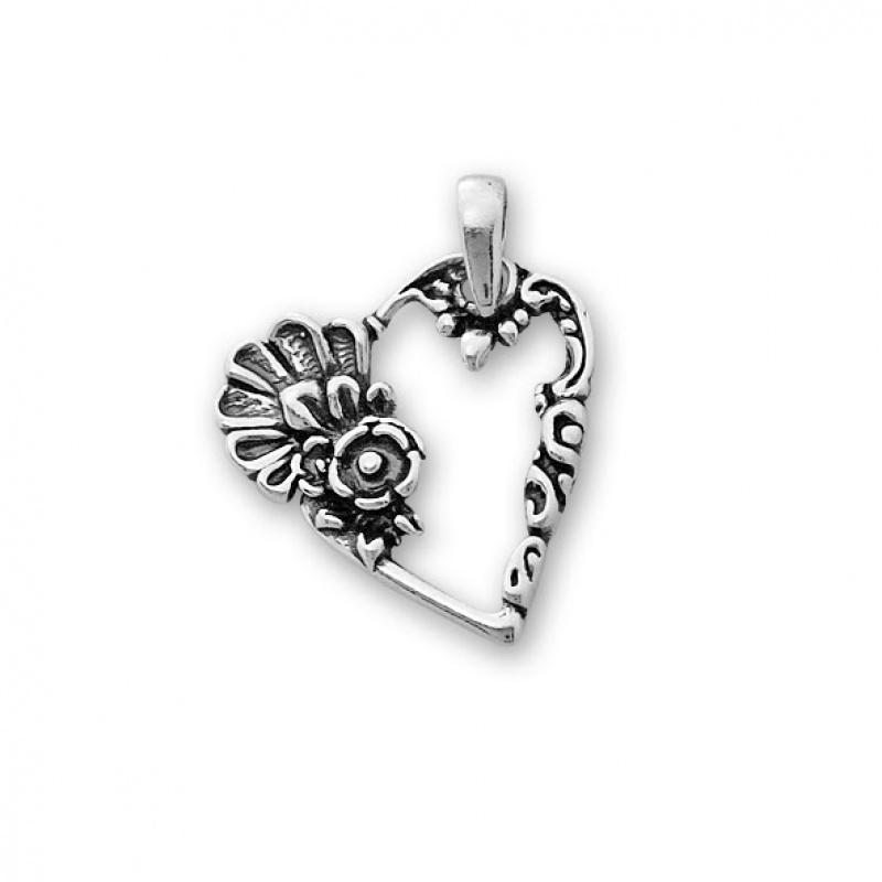 Heart - Сребърна висулка Сърце без Камък 181578-Сребърни бижута