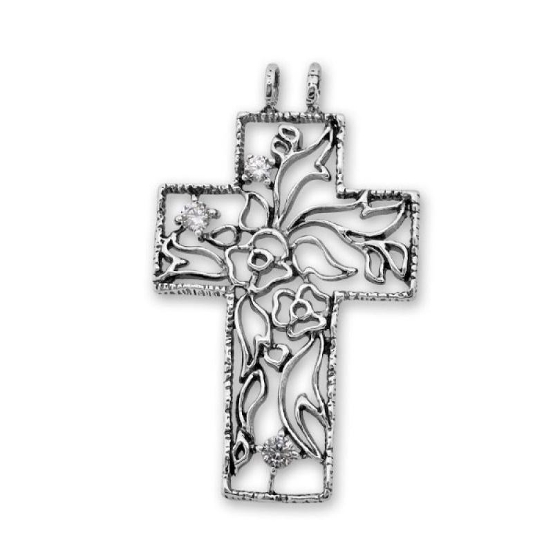 Ann - Сребърна висулка кръст с Циркони 193582-Сребърни бижута