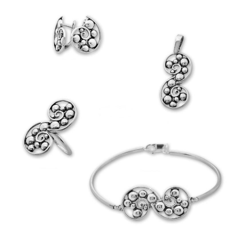 Jessamond -  Сребърен комплект от четири части без Камъни - Обеци, Висулка, Пръстен и Гривна 8000009-Сребърни бижута