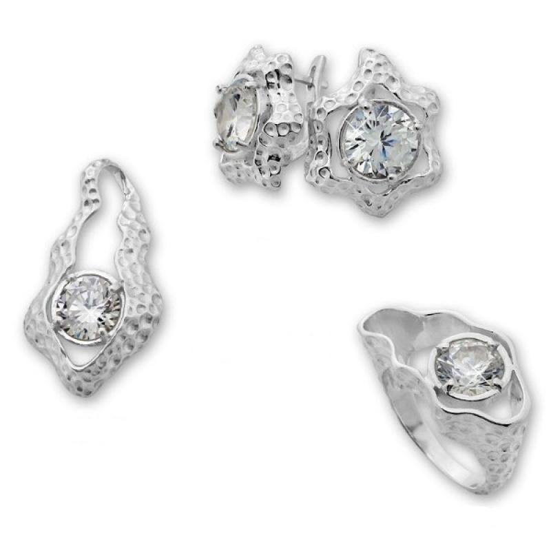 Ludivine -  Сребърен комплект от три части с Циркони - Обеци, Висулка и Пръстен 8000023-Естествени камъни