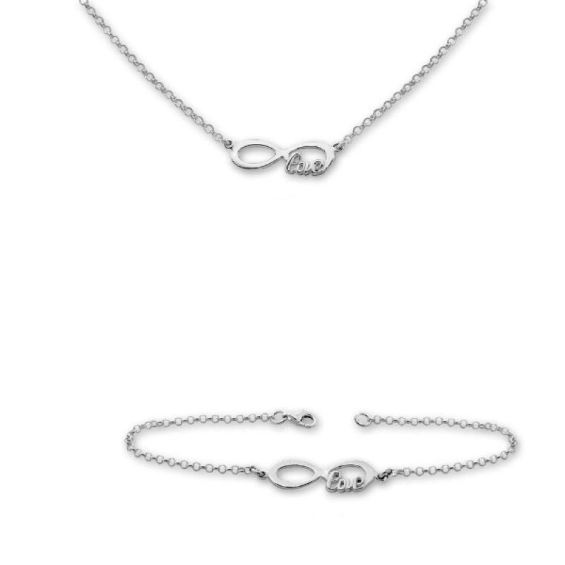 Georgitta -  Сребърен комплект от две части Безкрайност - Колие и Гривна 8000176-Сребърни бижута
