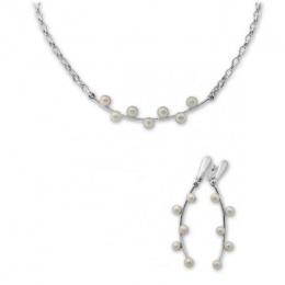 Madelaine - Сребърен комплект от две части с Перла А 4 мм - Обеци и Колие 8000280