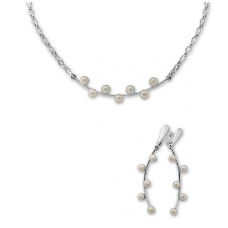 Madelaine - Сребърен комплект от две части с Перла А 4 мм - Обеци и Колие 8000280-Комплекти
