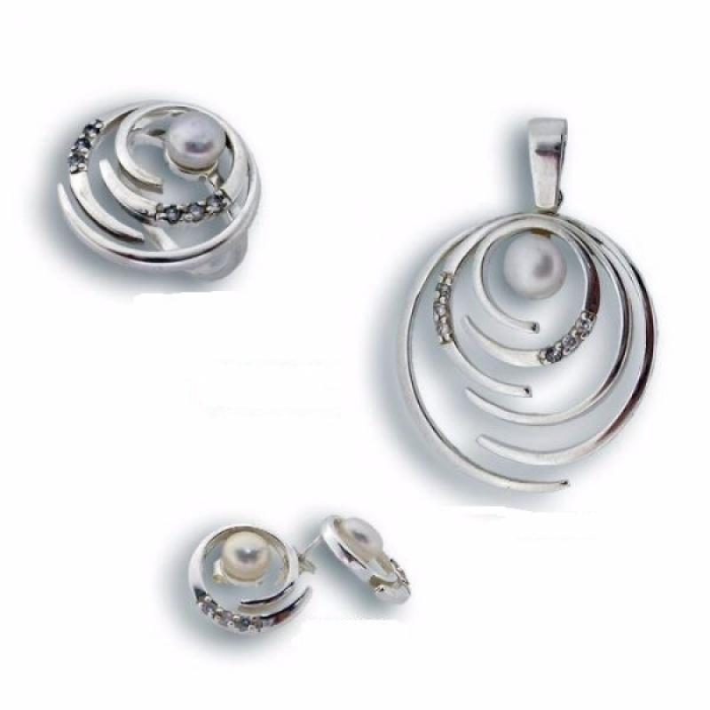Mariella - Сребърен комплект от три изделия с Перли 8000628-Комплекти