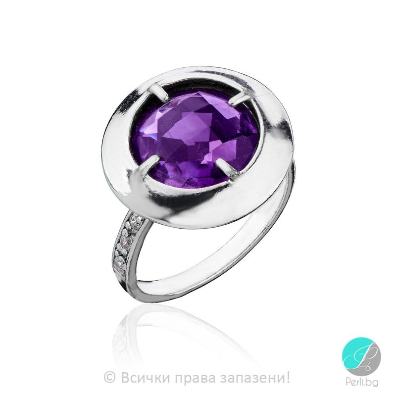 Eveline - Сребърен пръстен с Аметист и Циркони 805003АМ-Естествени камъни