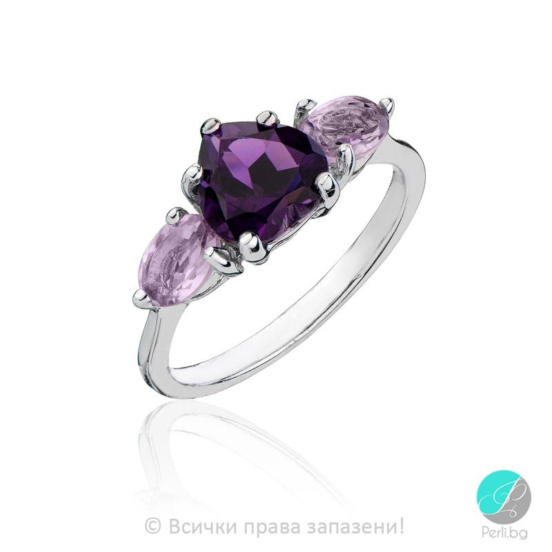 Anais - Сребърен пръстен с Аметист 1381181322A-Естествени камъни