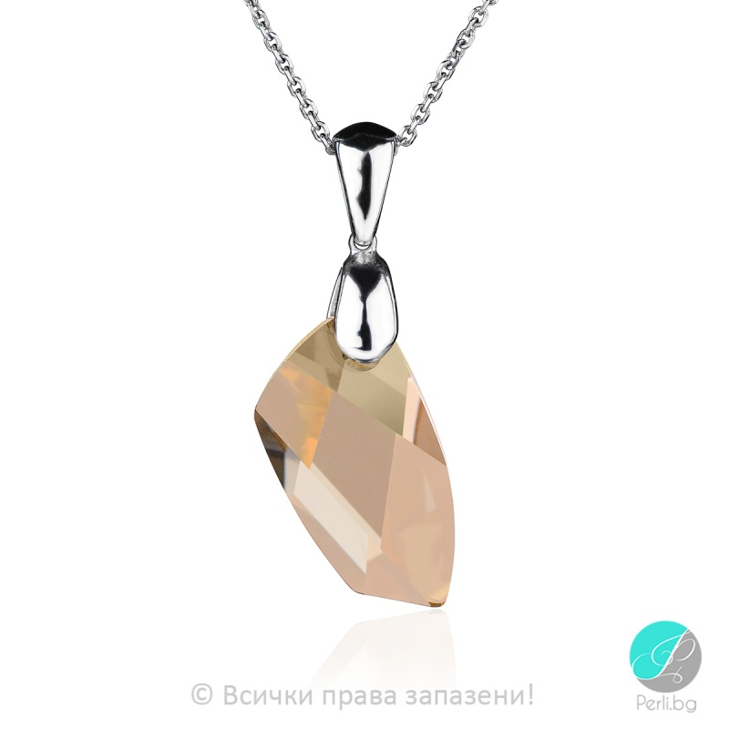 Lisette - Сребърно колие с кристал Swarovski Golden Shadow  20мм 66201639-Кристали