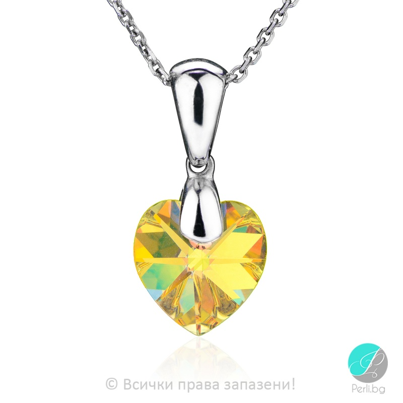 Semana - Сребърно колие сърце с кристал Swarovski Aurora Borealis 10 мм 62023735-Символи на любовта
