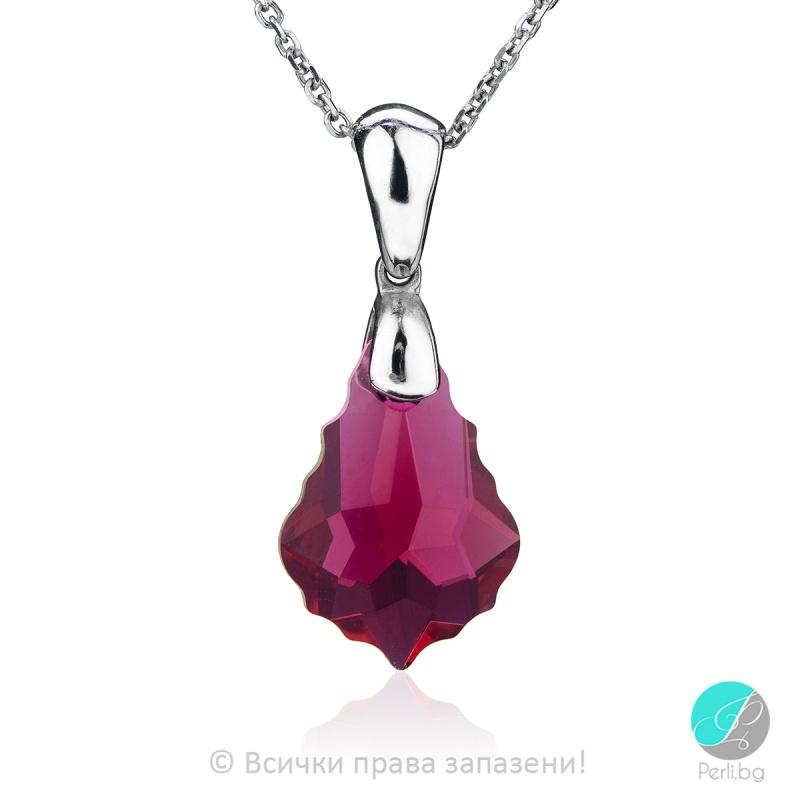 Zelia -  Сребърно колие с кристал Swarovski Baroque Ruby 16 мм 60901435-Кристали