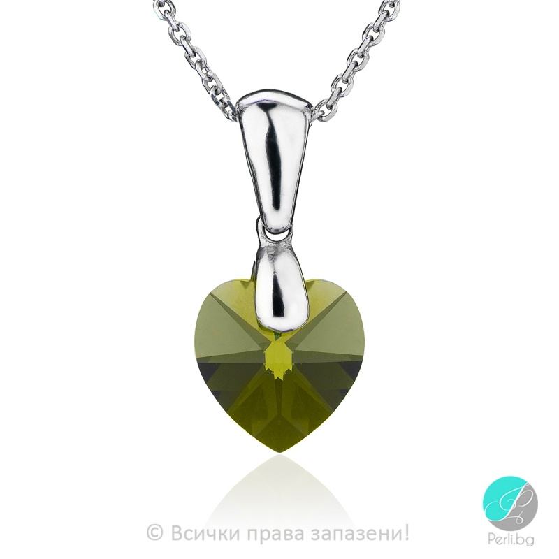 Semana - Сребърно колие сърце с кристал Swarovski Olivin 10 мм 62024335-Символи на любовта