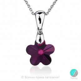 Annora - Сребърно колие цвете с кристал Swarovski Fuchsia 14 мм 67441435-Кристали