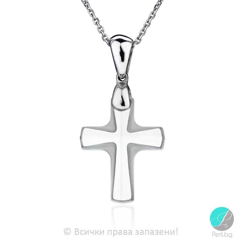 Andree - Сребърно колие кръст с кристал Swarovski 20 мм 68601135-Кристали