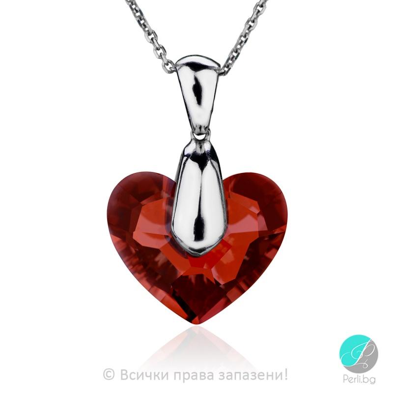 Deny - Сребърно колие сърце с кристал Swarovski Red Magma 18 мм 62641138-Символи на любовта