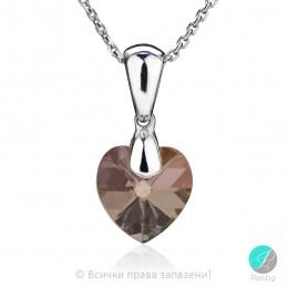 Semana - Сребърно колие сърце с кристал Swarovski Golden Shadow 10 мм 62025435-Символи на любовта