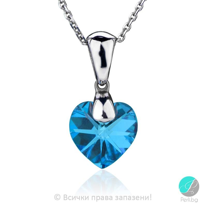 Semana - Сребърно колие сърце с кристал Swarovski Aquamarine 10 мм 62024135-Символи на любовта