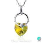Elodie - Сребърно колие сърце с кристал Swarovski Aurora Borealis 14 мм 620253301-Кристали