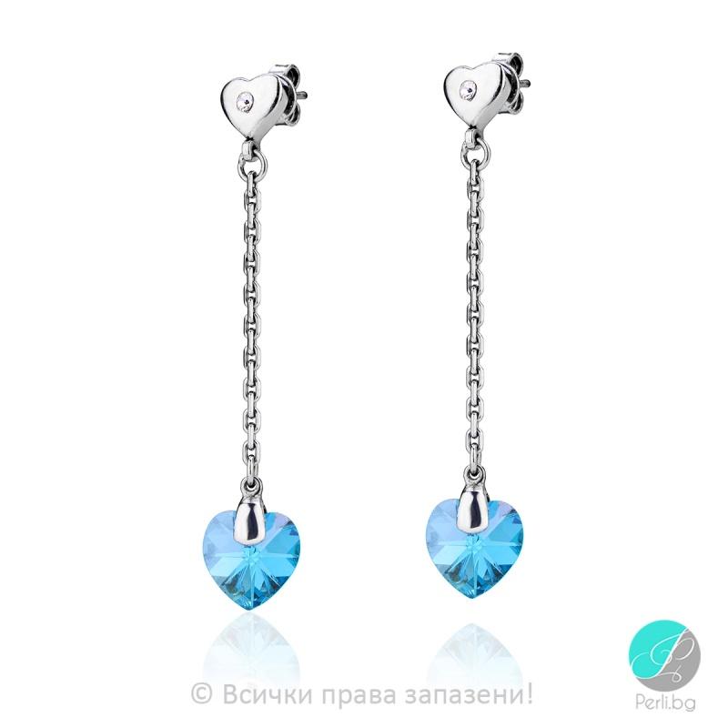 Semana - Сребърни обеци сърца с кристал Swarovski Aquamarine 10 мм 620231418-Символи на любовта