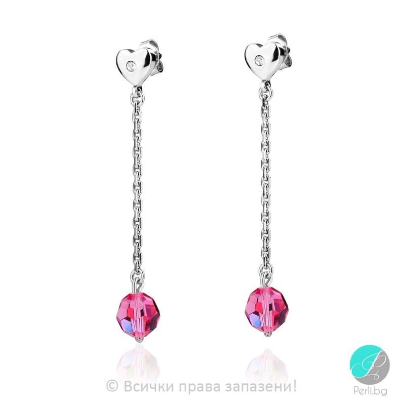 Helaine - Сребърни обеци с кристал Swarovski Rose 61112-Кристали