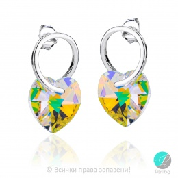 Elodie - Сребърни обеци сърца  с кристал Swarovski Aurora Borealis 14 мм 620253101-Символи на любовта
