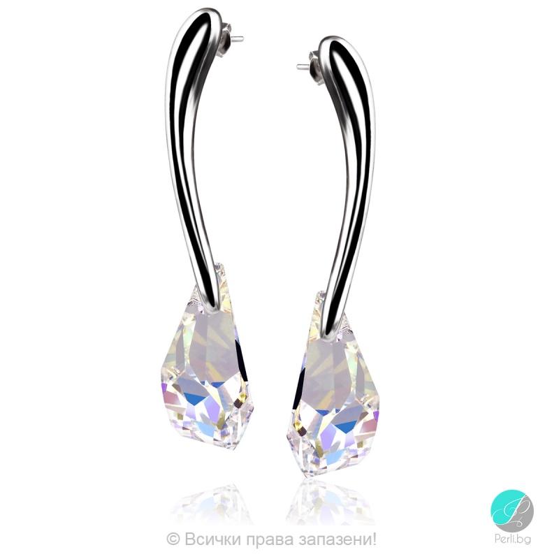 Melita - Сребърни обеци с кристал Swarovski  21 мм 601523103-Кристали