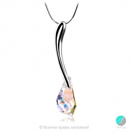 Melita - Сребърно колие с кристал Swarovski Aurora Borealis 21 мм 601515303-Кристали