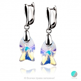 Danielle - Сребърни обеци с кристал Swarovski Aurora Borealis 18 мм 67271221
