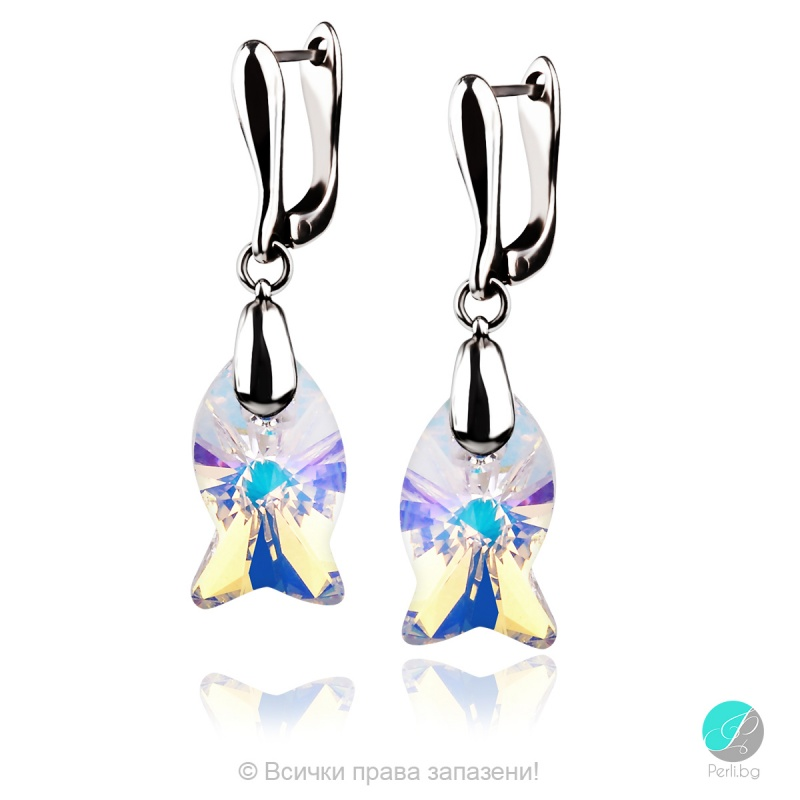 Danielle - Сребърни обеци с кристал Swarovski Aurora Borealis 18 мм 67271221-Кристали