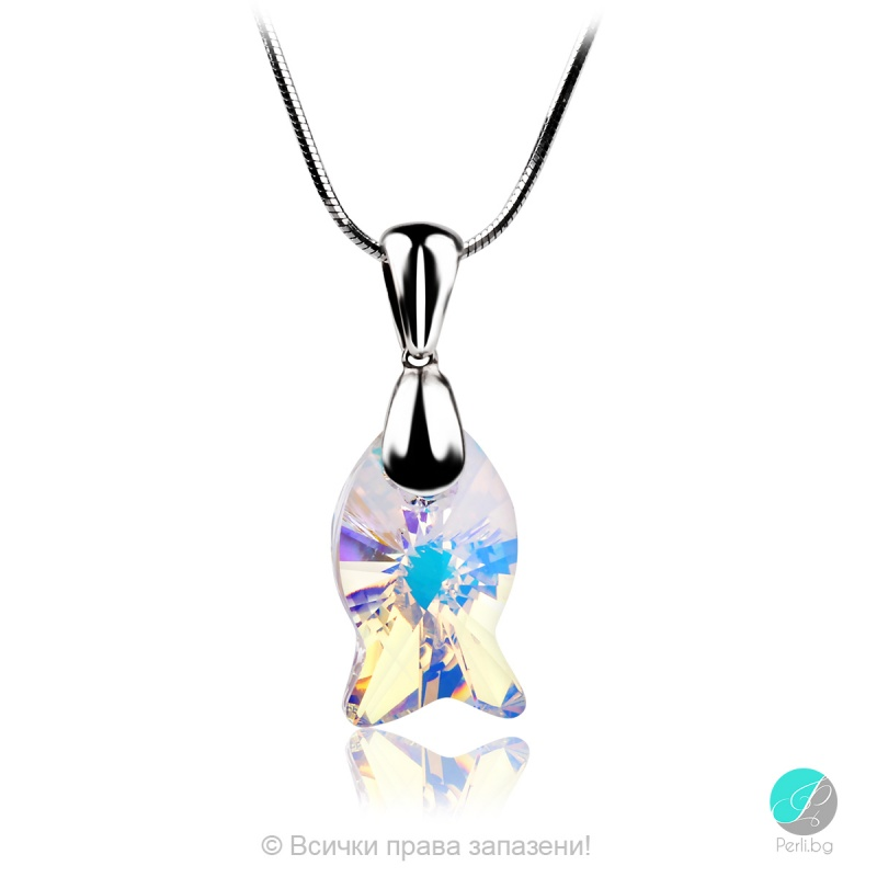 Danielle - Сребърно колие с кристал Swarovski Aurora Borealis 18 мм 67271239-Кристали