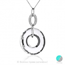 Genea - Сребърно колие кръг с кристал Swarovski 38 мм 6039143022-Кристали