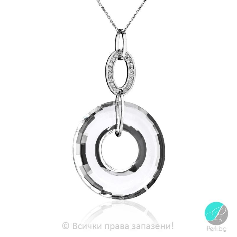 Genea - Сребърно колие кръг с кристал Swarovski 38 мм 6039113022-Кристали