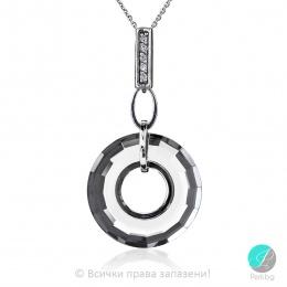 Genea - Сребърно колие кръг с кристал Swarovski 25 мм 6039143021-Кристали
