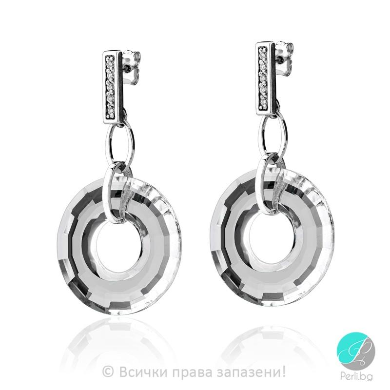 Genea - Сребърни обеци кръг с кристал Swarovski 25 мм 6039141021-Кристали