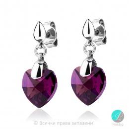 Semana - Сребърни обици с кристал Сваровски Ametyst AB 10 мм 62023926
