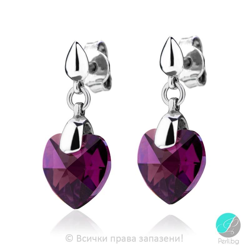 Semana - Сребърни обици сърце с кристал Swarovski Ametyst AB 10 мм 62023926-Символи на любовта