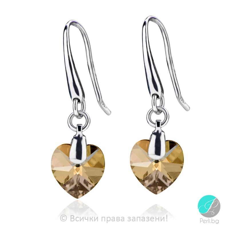 Semana - Сребърни обеци сърце с кристал Swarovski Golden Shadow 10 мм 6202542422-Символи на любовта